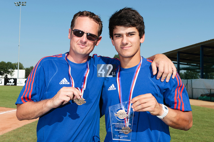 22 August 2010: Maxime Lefevre poses with the trophy of Outstanding defensive player, next to Rodolphe Le Meur at the 2010 European Championship, under 21, in Brno, Czech Republic.