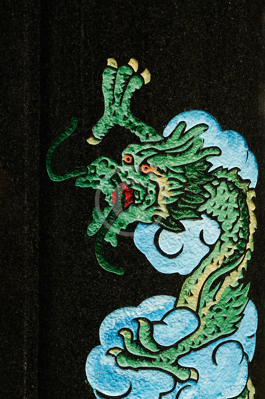 Canada, Montreal, Mount Royal Cemetery, Gravestone decoration, dragon