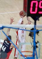 Caja Laboral Baskonia's Nemanja Bjelica (l) and CAI Zaragoza's Pablo Aguilar during Spanish Basketball King's Cup match.February 07,2013. (ALTERPHOTOS/Acero)