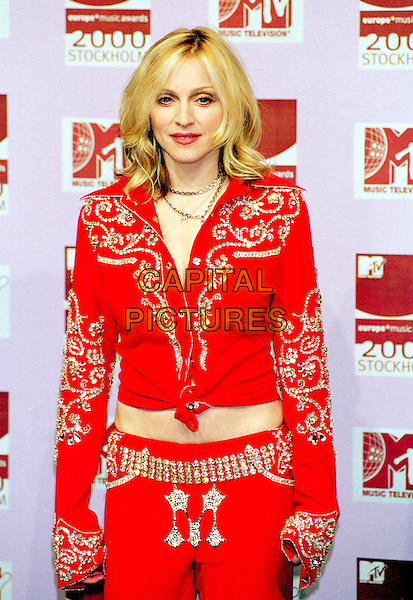 MADONNA.MTV Awards.Ref: PL.half length, half-length, red, cowgirl, western style outfit, knotted.www.capitalpictures.com.sales@capitalpictures.com.©Capital Pictures