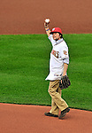 8 June 2010: Film producer Ken Burns throws out the ceremonial first pitch prior to a game between the Washington Nationals and the Pittsburgh Pirates at Nationals Park in Washington, DC. The Nationals defeated the Pirates 5-2 in the series opener where pitching sensation Stephen Strasburg made his Major League debut, striking out 14 batters and notching his first win in the majors. Mandatory Credit: Ed Wolfstein Photo