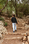 Israel, Carmel. The ascent to Etzba cave in Wadi Oren
