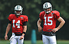 Josh McCown #15 of the New York Jets, right, stands alongside rookie quarterback Sam Darnold #14 during Training Camp at the Atlantic Health Jets Training Center in Florham Park, NJ on Tuesday, Aug. 7, 2018.