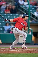 Pawtucket Red Sox left fielder Ramon Flores (17) follows through on a swing during a game against the Rochester Red Wings on May 19, 2018 at Frontier Field in Rochester, New York.  Rochester defeated Pawtucket 2-1.  (Mike Janes/Four Seam Images)