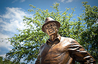 The famed Byron Nelson statue at the Four Seasons Resort and Spa in Irving, Texas, Sunday, May 2, 2010. Four Seasons couldn't abstain from cost cutting in this downturn as it had in previous recessions because the worst hotel market in decades left the company last year with a 26% decline in revenue per available room in the U.S. Similarly, its occupancy fell to 57% from its usual perch above 70%...CREDIT: Matt Nager for The Wall Street Journal