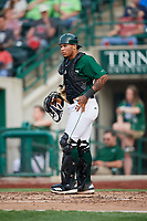 Fort Wayne TinCaps catcher Luis Campusano (4) during a game against the West Michigan Whitecaps on May 17, 2018 at Parkview Field in Fort Wayne, Indiana.  Fort Wayne defeated West Michigan 7-3.  (Mike Janes/Four Seam Images)