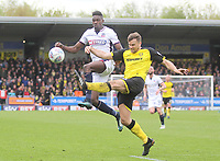 Bolton Wanderers Sammy Ameobi in action with Burton Albion's Ben Turner<br /> <br /> Photographer Mick Walker/CameraSport<br /> <br /> The EFL Sky Bet Championship - Burton Albion v Bolton Wanderers - Saturday 28th April 2018 - Pirelli Stadium - Burton upon Trent<br /> <br /> World Copyright &copy; 2018 CameraSport. All rights reserved. 43 Linden Ave. Countesthorpe. Leicester. England. LE8 5PG - Tel: +44 (0) 116 277 4147 - admin@camerasport.com - www.camerasport.com