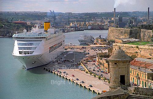 Cruise ship in Grand Harbour in Valletta island of Malta