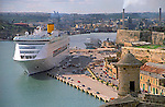 Cruise ship in Grand Harbour in Valletta island of Malta