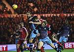 Daniel Ayala of Middlesbrough heading the ball over the top of Glenn Loovens of Sheffield Wednesday - Sky Bet Championship - Middlesbrough vs Sheffield Wednesday - Riverside Stadium - Middlesbrough - England - 28th of December 2015 - Picture Jamie Tyerman/Sportimage