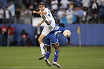 20 March 2008: Maynor Ignacio Lopez (GUA) (left) challenges Hendry Thomas (HON) (20). The Honduras U-23 Men's National Team defeated the Guatemala U-23 Men's National Team 6-5 on penalty kicks after a 0-0 overtime tie at LP Field in Nashville,TN in a semifinal game during the 2008 CONCACAF Men's Olympic Qualifying Tournament. With the penalty kick victory, Honduras qualifies for the 2008 Beijing Olympics.