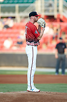 South Division starting pitcher Cam Roegner (37) of the Carolina Mudcats during the 2018 Carolina League All-Star Classic at Five County Stadium on June 19, 2018 in Zebulon, North Carolina. The South All-Stars defeated the North All-Stars 7-6.  (Brian Westerholt/Four Seam Images)