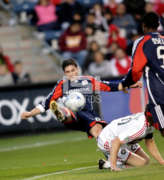 New England defender Jay Heaps (6) makes a tough clearance.  The Chicago Fire tied the New England Revolution 1-1 at Toyota Park in Bridgeview, IL on May 9, 2009.