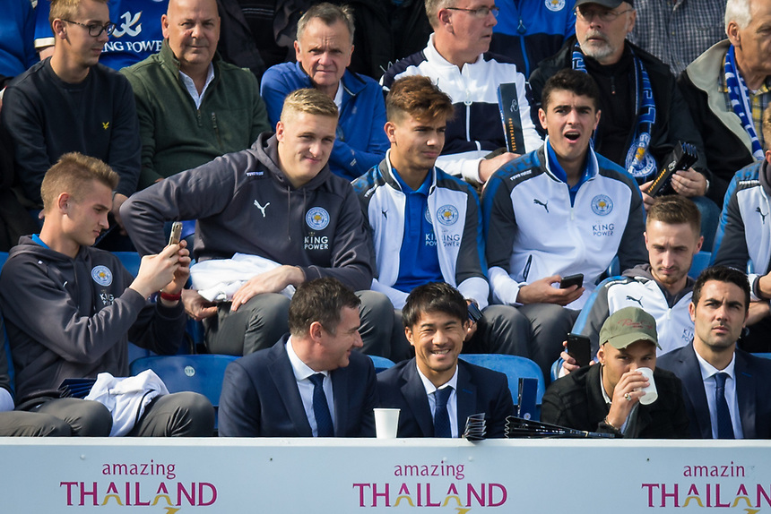 Leicester City's Shinji Okazaki is seen in the stand prior to the game<br /> <br /> Photographer Craig Mercer/CameraSport<br /> <br /> The Premier League - Leicester City v Chelsea - Saturday 9th September 2017 - King Power Stadium - Leicester<br /> <br /> World Copyright &copy; 2017 CameraSport. All rights reserved. 43 Linden Ave. Countesthorpe. Leicester. England. LE8 5PG - Tel: +44 (0) 116 277 4147 - admin@camerasport.com - www.camerasport.com