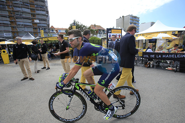 Giovanni Visconti (ITA) Movistar Team in the Tour Village in Le Touquet for the start of Stage 4 of the 2014 Tour de France running 163.5km from Le Touquet to Lille. 8th July 2014.<br /> Picture: Eoin Clarke www.newsfile.ie