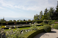 The manicured gardens overlook the tranquil waters of Lake Geneva