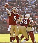San Francisco 49ers quarterback Jeff Garcia (5) passes football on Sunday, October 27, 2002, in San Francisco, California. The 49ers defeated the Cardinals 38-28.