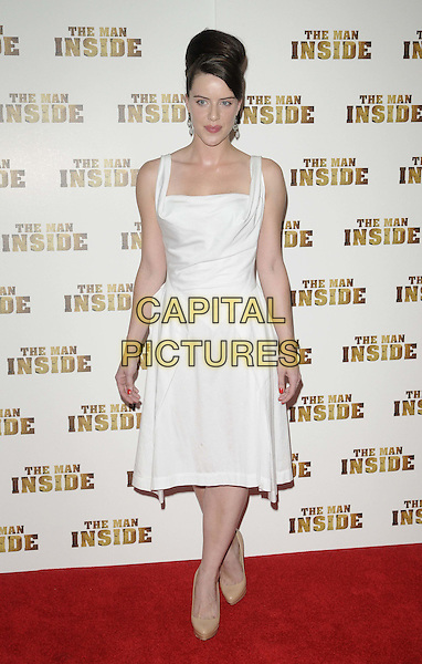 Michelle Ryan.The 'The Man Inside' UK film premiere, Vue West End cinema, Leicester Square, London, England..July 24th, 2012.full length white dress sleeveless beige clutch bag shoes hair up.CAP/CAN.©Can Nguyen/Capital Pictures.