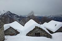 After a heavy snowfall on Alpe Porchesio above Mergoscia, Ticino, Switzerland,