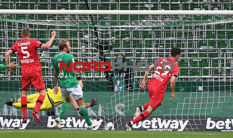 Jubel nach dem 1:2: Torschuetze Kai Havertz (Leverkusen) .<br /><br />Sport: Fussball: 1. Bundesliga: Saison 19/20: 26. Spieltag: SV Werder Bremen - Bayer 04 Leverkusen, 18.05.2020<br /><br />Foto: Marvin Ibo GŸngšr/GES /Pool / via gumzmedia / nordphoto