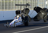 Nov. 9, 2012; Pomona, CA, USA: NHRA top alcohol dragster driver Garret Bateman during qualifying for the Auto Club Finals at at Auto Club Raceway at Pomona. Mandatory Credit: Mark J. Rebilas-