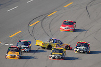 Oct 4, 2008; Talladega, AL, USA; NASCAR Craftsman Truck Series driver John Wes Townley (09) spins entering pit road during the Mountain Dew 250 at the Talladega Superspeedway. Mandatory Credit: Mark J. Rebilas-