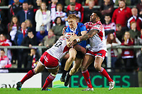 Picture by Alex Whitehead/SWpix.com - 11/05/2018 - Rugby League - Ladbrokes Challenge Cup - Leigh Centurions v Salford Red Devils - Leigh Sports Village, Leigh, England - Salford's Kris Welham is tackled by Leigh's Jamie Acton and Ryan Bailey.