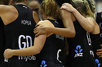 19.01.2019 Silver Ferns group huddle before the match during the Silver Ferns v Australia netball test match at The Copper Box Arena. Mandatory Photo Credit ©Michael Bradley Photography/Christopher Lee