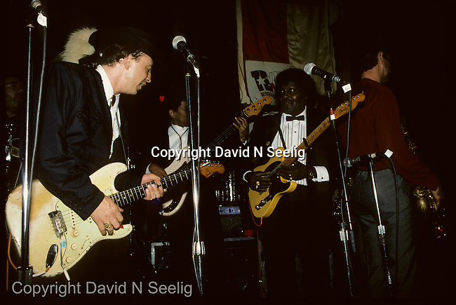 Stevie Ray Vaughn and Albert Collins  at the Lone Star Cafe in New York City on December 31 1987