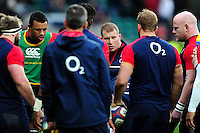 Dylan Hartley of England speaks to his team-mates during the pre-match warm-up. RBS Six Nations match between England and Ireland on February 27, 2016 at Twickenham Stadium in London, England. Photo by: Patrick Khachfe / Onside Images