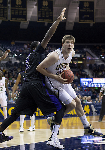 December 21, 2012:  Notre Dame forward Jack Cooley (45) drives to the basket during NCAA Basketball game action between the Notre Dame Fighting Irish and the Niagara Purple Eagles at Purcell Pavilion at the Joyce Center in South Bend, Indiana.  Notre Dame defeated Niagara 89-67.