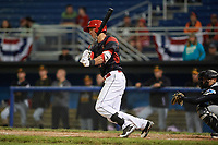 Batavia Muckdogs third baseman Tyler Curtis (11) at bat in the bottom of the tenth inning during a game against the West Virginia Black Bears on June 26, 2017 at Dwyer Stadium in Batavia, New York.  Batavia defeated West Virginia 1-0 in ten innings.  (Mike Janes/Four Seam Images)