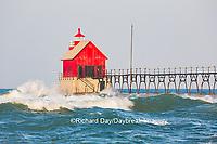 64795-01212 Grand Haven South Pier Lighthouse at sunrise on Lake Michigan, Ottawa County, Grand Haven, MI