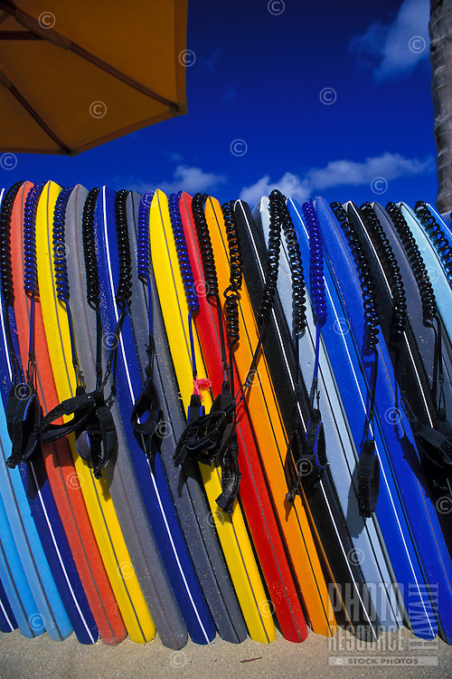 Boogie boards for rent on Waikiki Beach.
