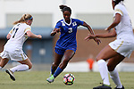 19 August 2016: Duke's Imani Dorsey (3) and Wofford's Erin Roche (11). The Duke University Blue Devils played the Wofford College Terriers in a 2016 NCAA Division I Women's Soccer match. Duke won the game 9-1.