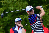 Zach Johnson (USA) watches his tee shot on 10 during the practice round at the Ryder Cup, Hazeltine National Golf Club, Chaska, Minnesota, USA.  9/29/2016<br /> Picture: Golffile | Ken Murray<br /> <br /> <br /> All photo usage must carry mandatory copyright credit (&copy; Golffile | Ken Murray)