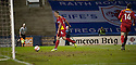 Pars' Stephen Husband rolls the ball into an empty net to scores Dunfermline's third after having the ball laid on a plate by team mate Craig Dargo (14)  ...