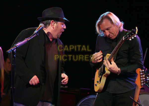 JD and THE STRAIGHT SHOT & JOE WALSH of the EAGLES .The National Kidney Foundation's Harold Owens Fund Concert & Auction held at The Roxy in West Hollywood, California, USA. .June 24th, 2008           .half length stage concert live gig performance music guitar black shirt suit jacket hat profile                                                   .CAP/DVS.©Debbie VanStory/Capital Pictures.