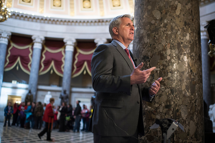 UNITED STATES - MARCH 15: House Majority Leader Kevin McCarthy, R-Calif., is interviewed in the Capitol's Statuary Hall, March 15, 2017. (Photo By Tom Williams/CQ Roll Call)