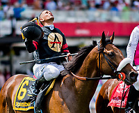 BALTIMORE, MD - MAY 19: Javier Castellano celebrates after guiding Shaman Ghost #6, to victory in the Pimlico Special on Black-Eyed Susan Day at Pimlico Race Course on May 19, 2017 in Baltimore, Maryland.(Photo by Scott Serio/Eclipse Sportswire/Getty Images)