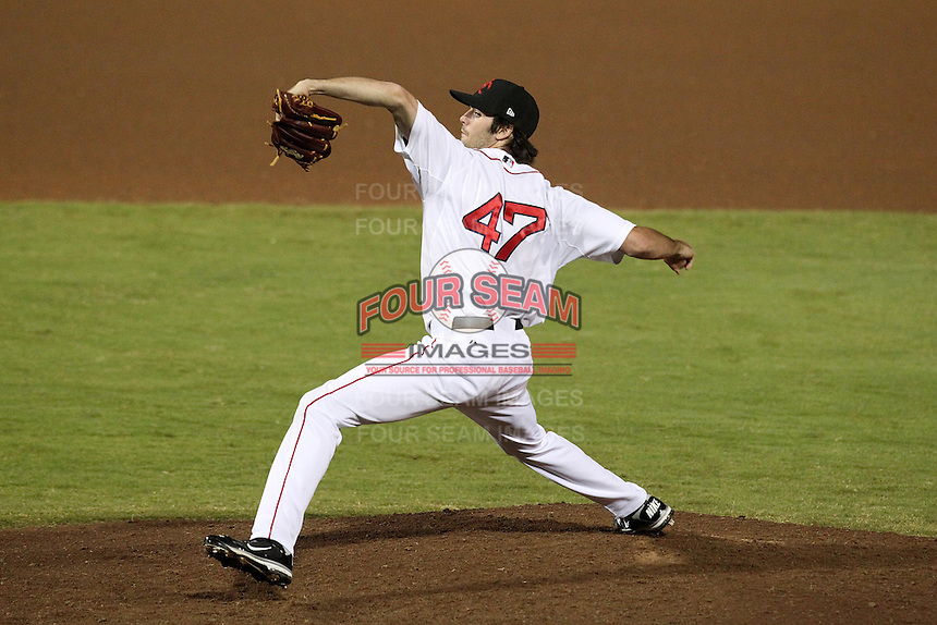Scottsdale Scorpions pitcher Caleb Clay #47 during an Arizona Fall League game against the Peoria Javelinas at Scottsdale Stadium on November 1, 2011 in Scottsdale, Arizona.  Scottsdale defeated Peoria 6-4.  (Mike Janes/Four Seam Images)
