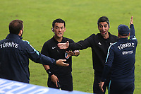 The FIFA delegate tries to calm down the Turkey management team after a penalty was awarded to Portugal during Portugal Under-19 vs Turkey Under-21, Tournoi Maurice Revello Football at Stade Parsemain on 3rd June 2018