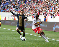 Nick Zimmerman #23 of the Philadelphia Union goes for the ball with Jeremy Hall #17 of the New York RedBulls during a MLS  match on April 24 2010, at RedBull Arena, in Harrison, New Jersey. RedBulls won 2-1.