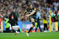 Alex Goode of Saracens takes a conversion attempt