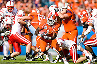 January 1, 2009:      Clemson running back James Davis (1) breaks open on a run during the  64th annual Konica Minolta Gator Bowl between the Nebraska Cornhuskers  and the Clemson Tigers  at Jacksonville Municipal Stadium in Jacksonville, Florida. Nebraska defeated Clemson 26-21.