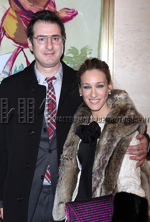 Jon Robin Baitz & Sarah Jessica Parker.attends the Opening Night of the Lincoln Center production of 'Other Desert Cities' at the Mitzi E. Newhouse Theater in New York City.