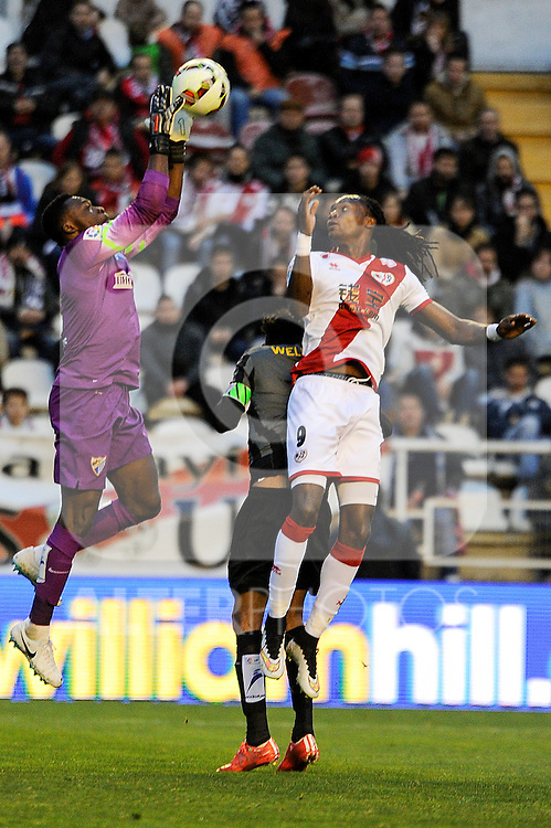 Rayo Vallecano´s Manucho and Malaga CF´s goalkeeper Idriss Carlos Kameni during 2014-15 La Liga match between Rayo Vallecano and Malaga CF at Rayo Vallecano stadium in Madrid, Spain. March 21, 2015. (ALTERPHOTOS/Luis Fernandez)