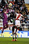 Rayo Vallecano´s Manucho and Malaga CF´s goalkeeper Idriss Carlos Kameni during 2014-15 La Liga match between Rayo Vallecano and Malaga CF at Rayo Vallecano stadium in Madrid, Spain. March 21, 2015. (ALTERPHOTOS/Luis Fernandez)