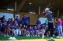 Goncalo Pinto (POR) entertains the volunteers, European Challenge Tour, Azerbaijan Golf Challenge Open 2014, Azerbaijan National Golf Club, Quba, Azerbaijan. (Picture Credit / Phil Inglis)