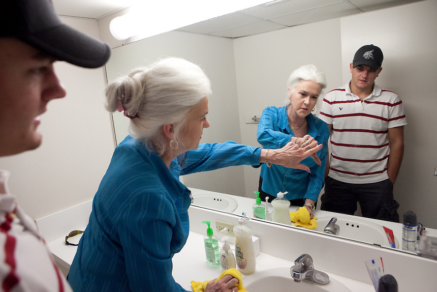 Matthew Rydell of San Antonio, Texas listens to Heloise in his dorm room on the campus of Texas State University in San Marcos. Matthew lives in the dorm room that Heloise lived in forty years previous. Heloise offered Matthew a host of housekeeping tips. July 14, 2009.